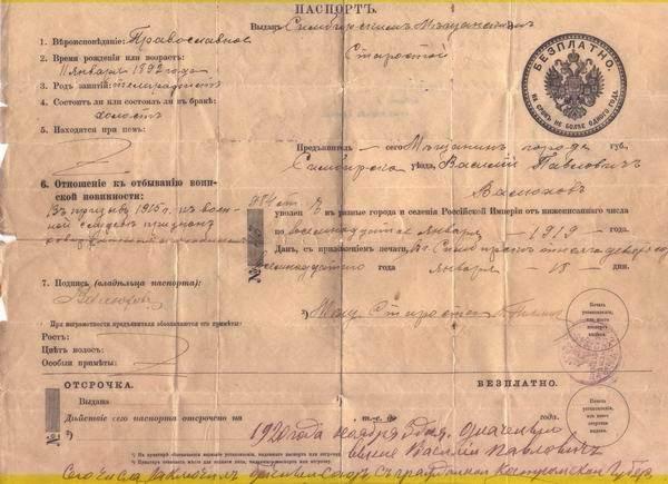 Паспорт 100 лет назад